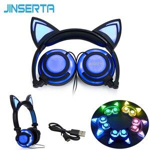 Image 5 - JINSERTA 2020 고양이 귀 헤드폰 LED 귀 헤드폰 고양이 이어폰 번쩍이는 헤드셋 성인과 어린이를위한 게임 이어폰