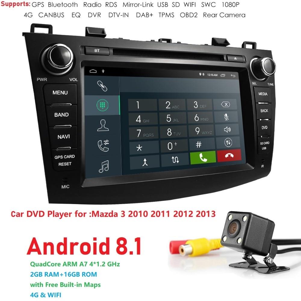 Android 8,1 Авто Радио 2 Din Стерео DVD gps Navi для Mazda 3 Mazda3 2010 2011 2012 2013 8 HD головного устройства gps навигации Системы