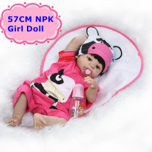 NPK New Arrival 57cm Full Silicone Reborn Dolls Vivid Reborn Baby Girl Dolls In Cute 22″Doll Clothes Alive Baby Toy For Children