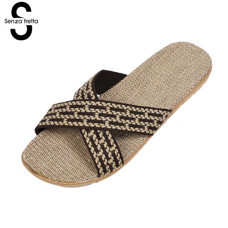 Senza Fretta Men Shoes Home Linen Slippers Couple Flat Slippers Hemp Simple Breathable Soft Floor Slippers Men slippers Big Size senza fretta men shoes home linen slippers couple flat slippers hemp simple breathable soft floor slippers men slippers big size