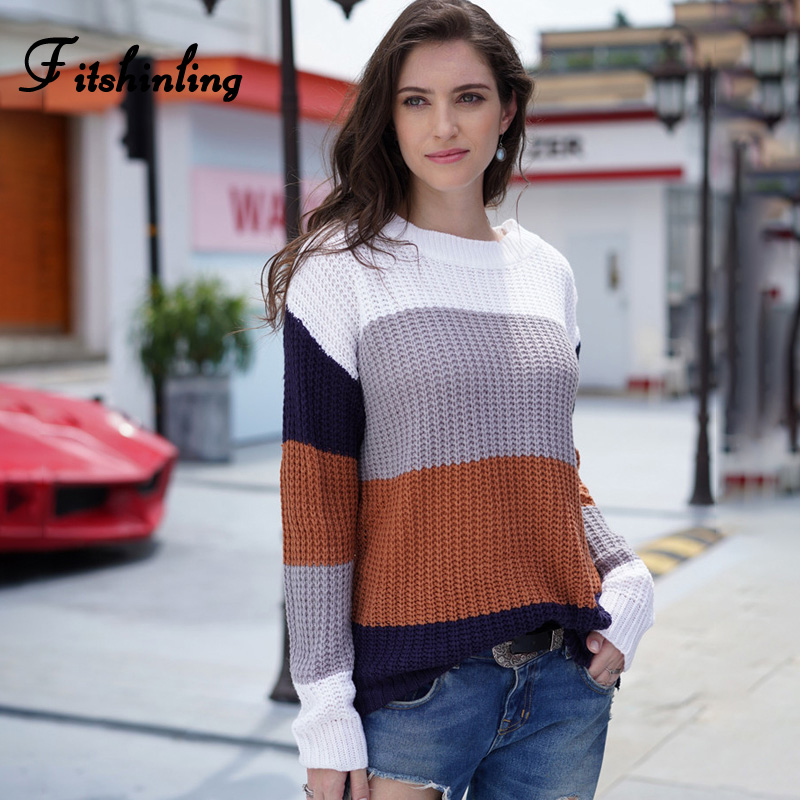 Fitshinling Block Patchwork Pullovers Sweaters For Women Winter Knitted Clothing Long Sleeve Korean Female Sweater Pull Femme
