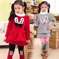 V-TREE Moda inverno do bebê meninas roupas set camisa de manga longa leggings velo natal traje para as crianças meninas roupas conjuntos