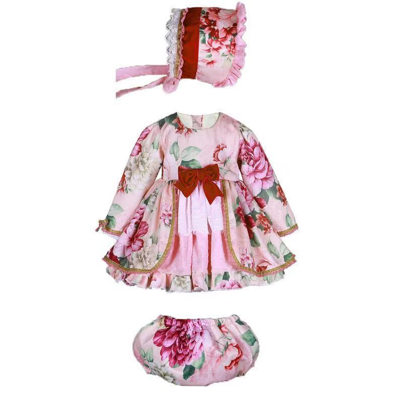 3PCS Autumn Winter Long Sleeves Vintage Spanish Dress Pompon Ball Flower Princess Dress Lolita Birthday Party