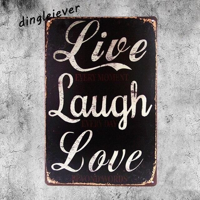 Live Laugh Love Metal Coffee Decor Bar Tin Signs Garage Rustic Wall Art Poster