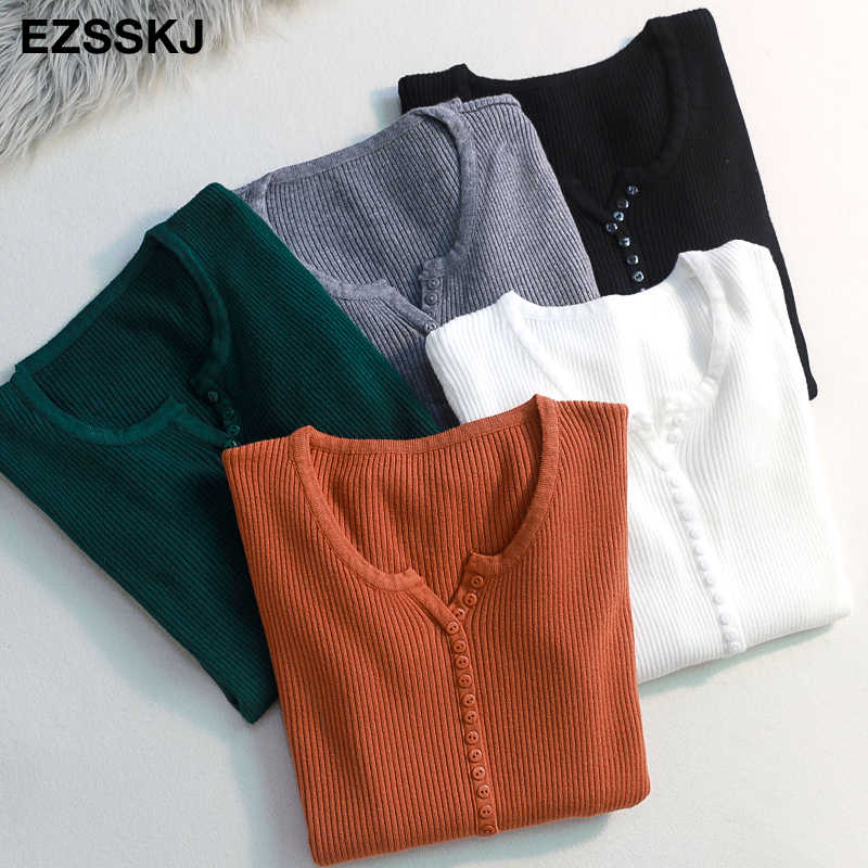 casual Autumn spring Basic Sweater pullovers Women v-neck Solid Knit Slim Pullover female Long Sleeve warm button Sweater