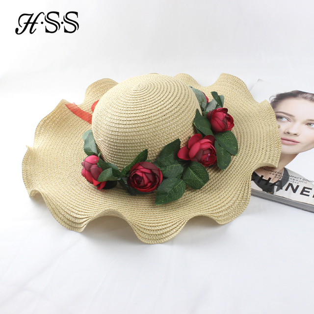 HSS original nueva moda rojo corona sombrero de paja ocasional ala gran ola  señora flor playa 7b2a00a13f7
