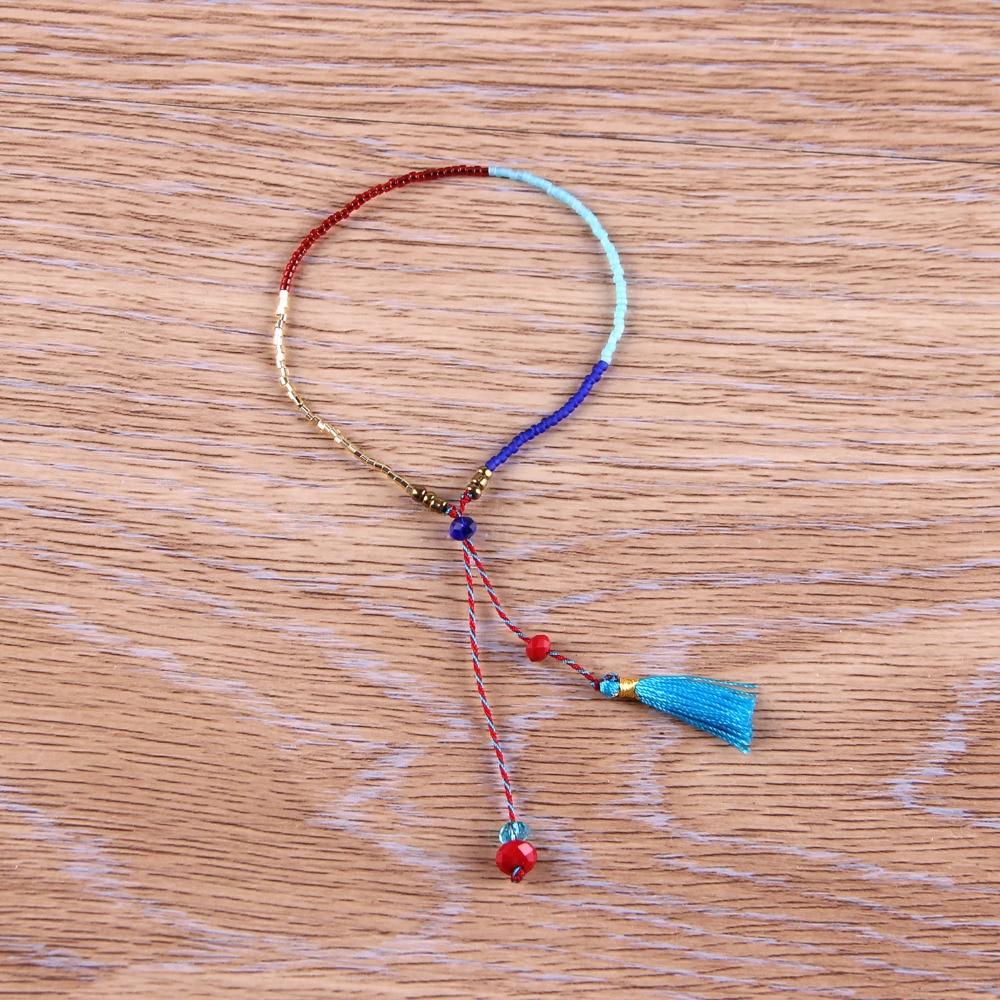 C. QUAN CHI Marque Bohême Gland Pendentif Bracelet En Cristal Coloré Perles de Rocaille Bracelets Réglable Coton Corde Bracelet & Bracelet