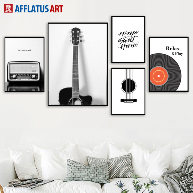 guitar radio vinyl records wall art canvas painting nordic posters