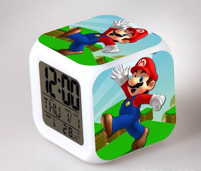 Cartoon Super Mario Bros Led Action Figure Alarm Clocks Kawaii Mario Yoshi Luigi Despertador Creative Night Glowing Kids Toys 88