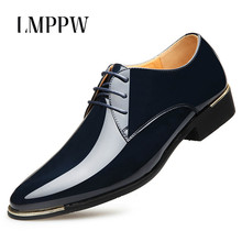 High Quality Business Men's Shoes Pointed Toe Lace Up Dress Formal Oxford Shoes Patent Leather Men Flats Fashion Wedding Shoes цены онлайн
