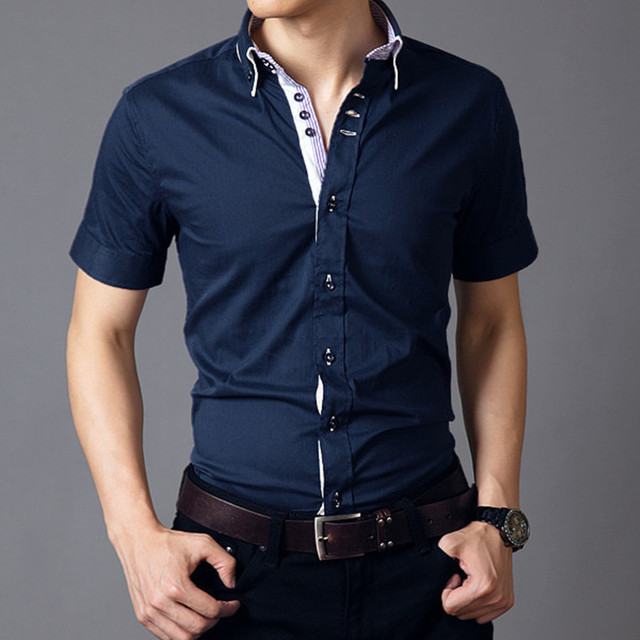 Promotion spring summer fashion slim hot men's shirts new short sleeve shirts men 5 color M-XXXXL