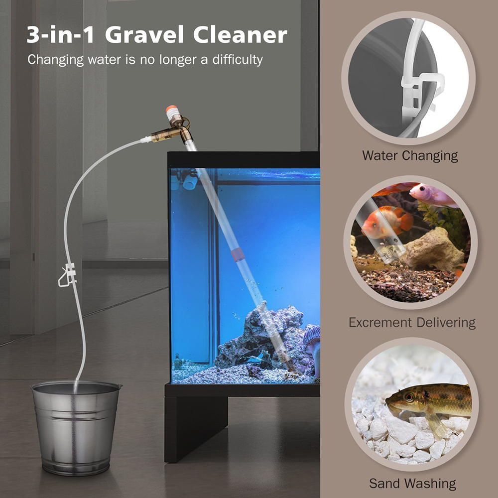 Pet Supplies 1 X Multifunctional Fish Tank Gravel Cleaner Filter Water Changer Siphon Vaccum