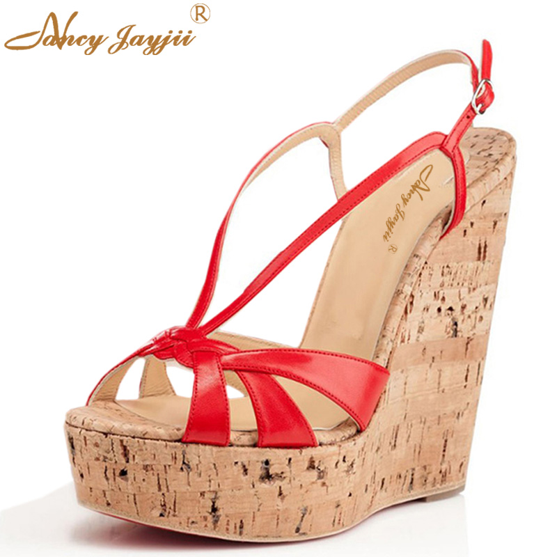 Red White Woman Sandals Wedges Platform Bowties Ladies Shoes Super High Heels Dress Party Evening Gladiator Size 33 43 Cork Cute