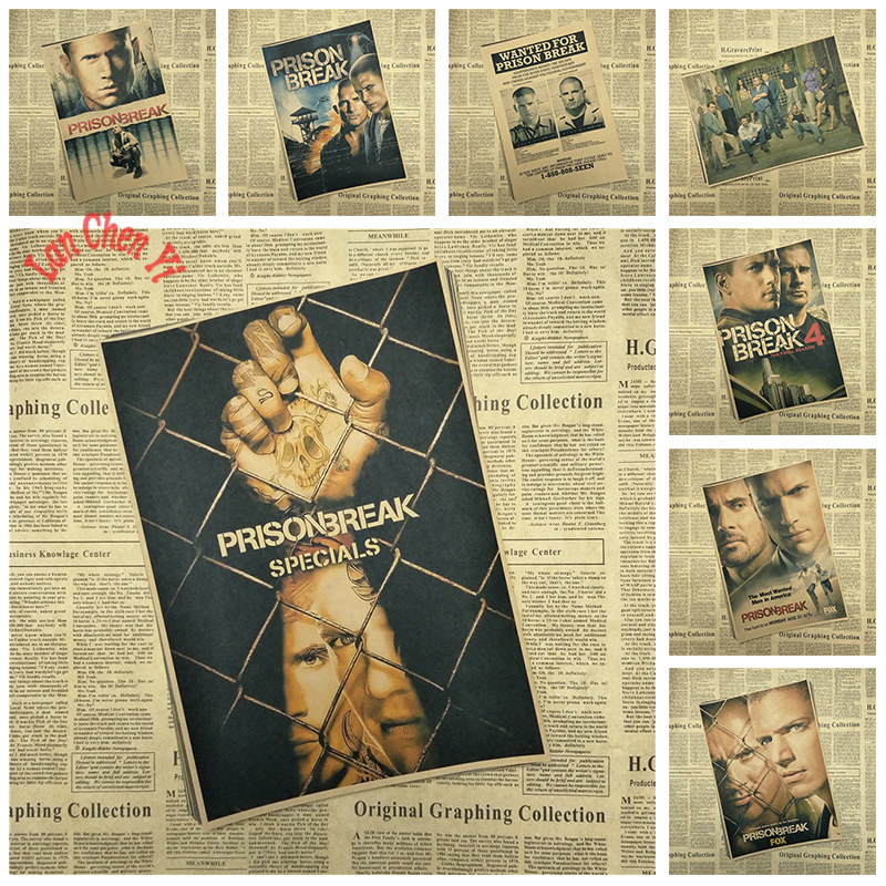 Classic TV series Prison Break Kraft Paper Poster Cafe Түсқағаздар Түсқағаздар Interior Decoration Тегін жеткізу