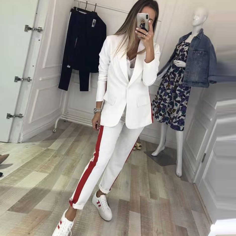 2019 Winter Black Red White Slim Two-piece Long Sleeve V-neck Blazer and Casual Pants Women's Set Celebrity Runway Party Set
