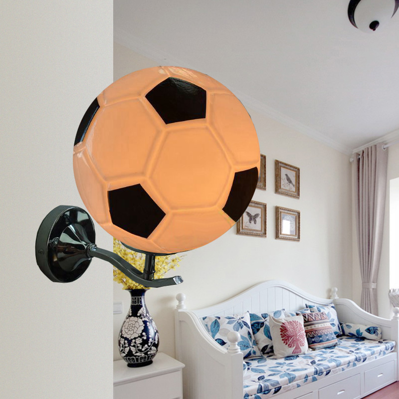 Children room football wall lamp with glass lampshade bedroom e27 children room football wall lamp with glass lampshade bedroom e27 black white kids lighting accessory bar night led wandlamp in wall lamps from lights mozeypictures Images