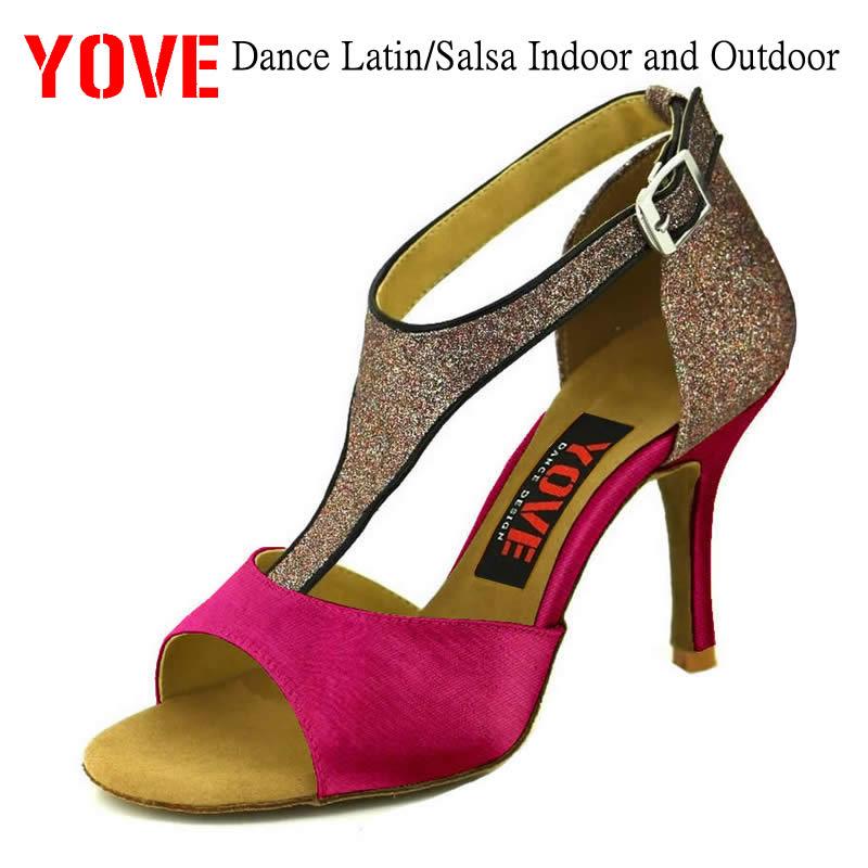 YOVE chaussures de danse Satin Bachata/Salsa chaussures de danse femmes 3.5