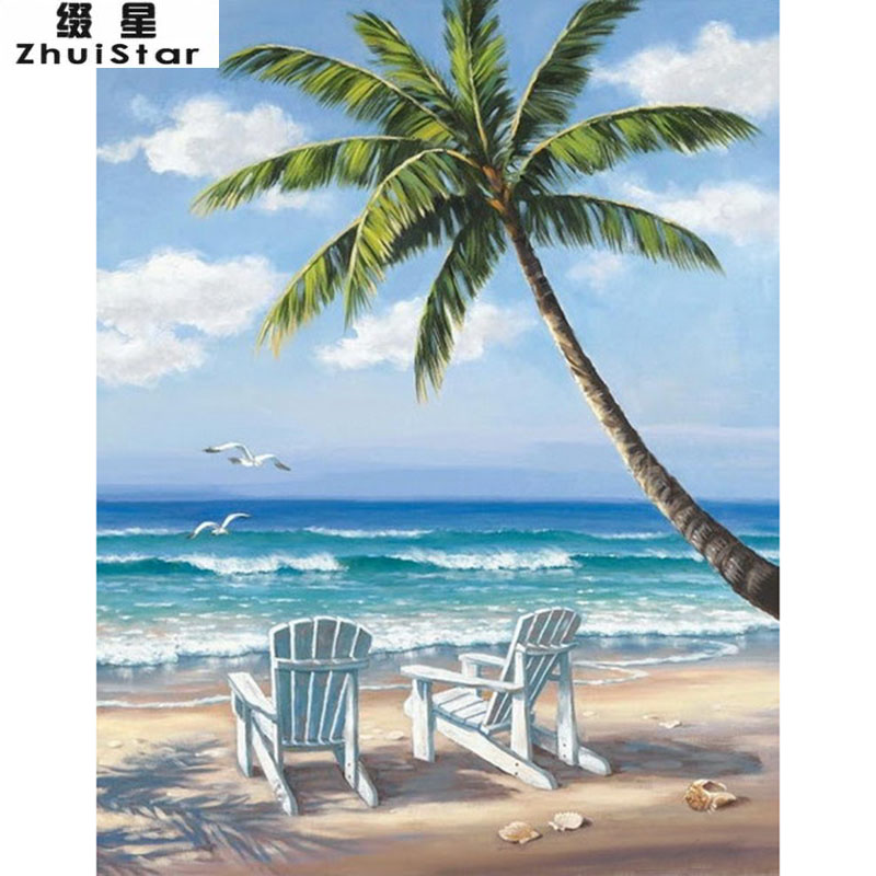 New 5D DIY Diamond Painting Beach & coconut trees Scenic Embroidery Full Square Diamond Cross Stitch Rhinestone Mosaic Painting beautiful ocean