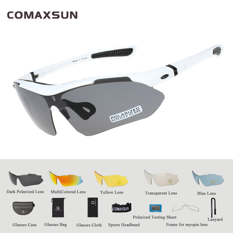COMAXSUN Professional Polarized Cycling Glasses Bike Goggles Outdoor Sports Bicycle Sunglasses UV 400 With 5 Lens TR90 2 Style 10