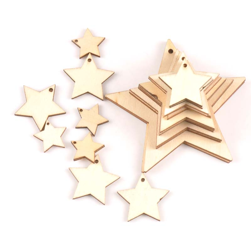 Natural Wooden Star Drop Pentant Handmade Diy Scrapbooking Craft For Hanging Charms Decoration 20/3040/50/60/80/100mm MT2191