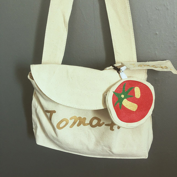 Tomatoes love nature series fresh canvas women shoulder bag english letter print floral tomatoes soft sister