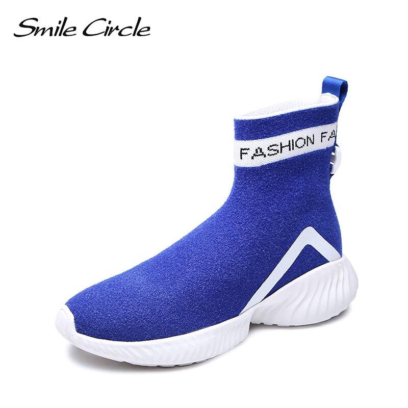 Chaussette Tricot bleu Sourire Noir top Chaussures Sneaker Noir Haute Bottes sur Le Cercle Slip Léger Femmes Casual Espadrille Respirant xnxURz