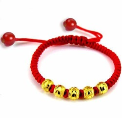 Pure 999 24k Yellow Gold Best Gift Lucky Bead Red Knitted Chain Bracelet 0.09g*5