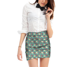 FORUDESIGNS Cute Pug Puppy Flower Printing Women Skirts Ladiea Cartoon Pattern Mini Skirt for Females Formal Office Bottom