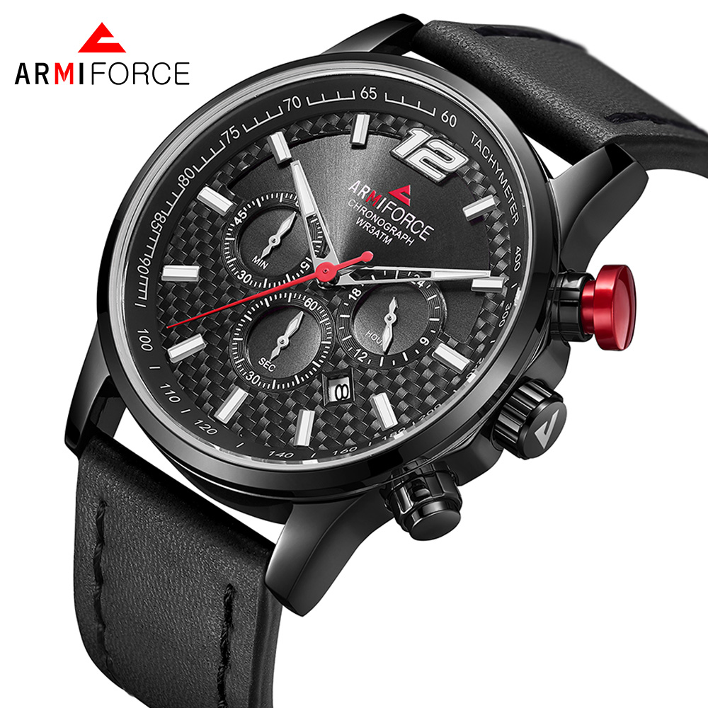 ARMIFORCE Quartz Men Watches Fashion Genuine Leather Chronograph Watch Clock for Gentle Men Male Students Reloj Hombre genuine jedir quartz male watches genuine leather watches racing men students game run chronograph watch male glow hands