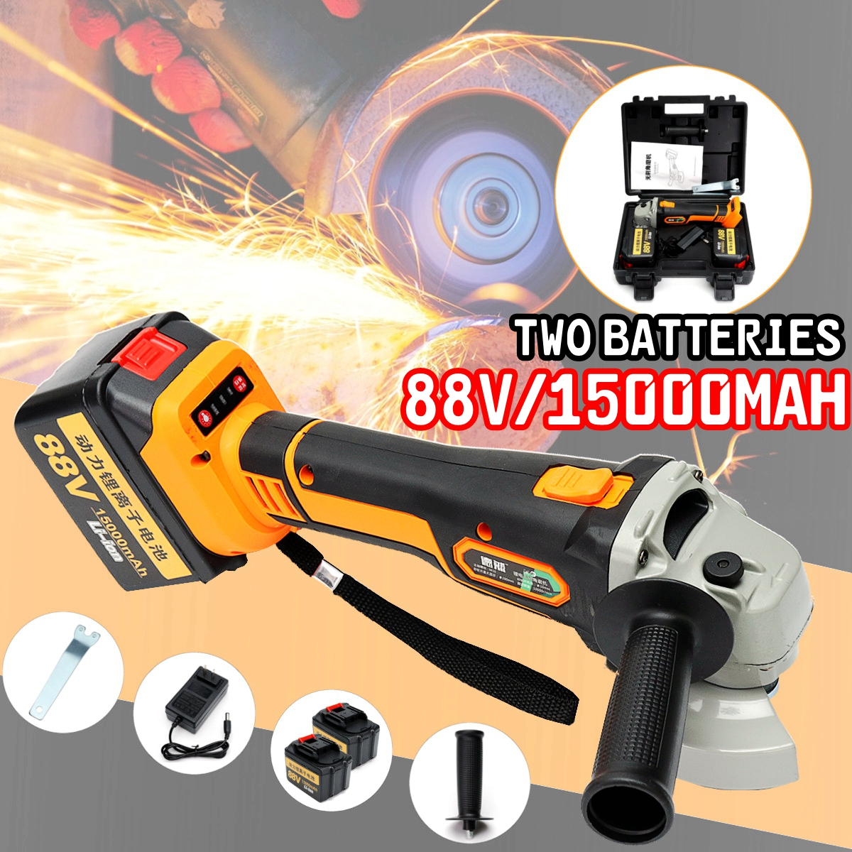 88Vf 15000mAh Electric Angle Grinder Cordless Polisher Polishing Machine Cutting Tool fast shipping at3139 180 polisher multifunctional a tractor serves several purposes angle grinder cutting wheel electric