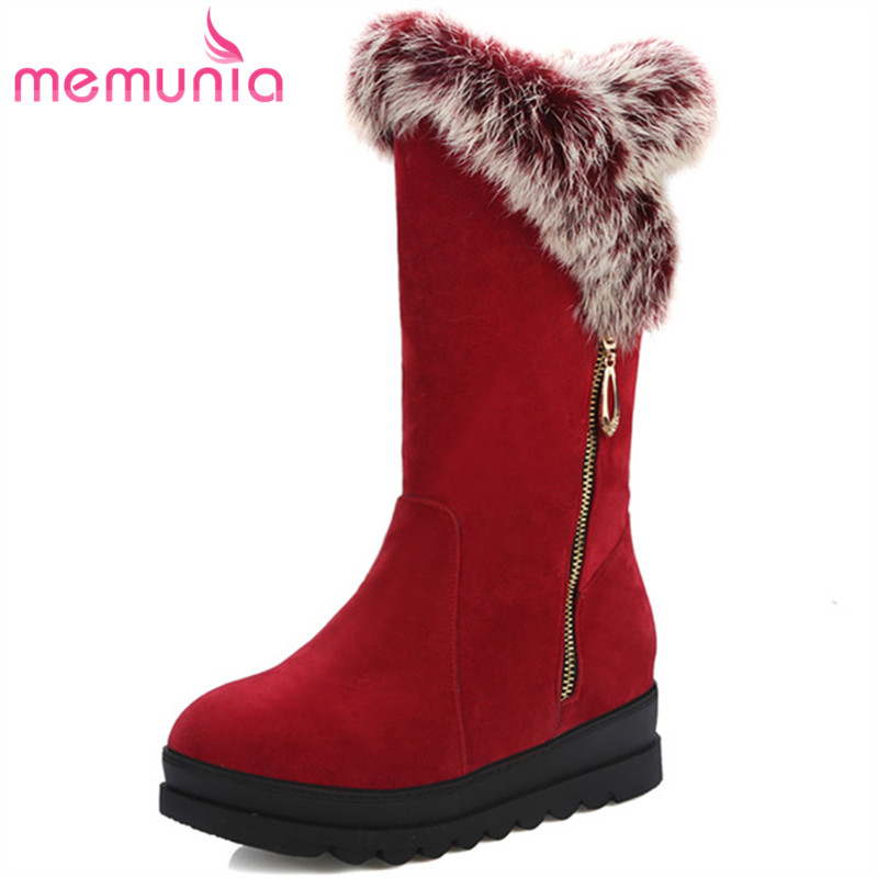 MEMUNIA Winter boots flock platform shoes ankle boots for women round toe flock womens boots keep warm fashion big size 34-43 flat with bow ankle boots shoes style women boots round toe platform snow boots for women fashion flock short outdoor shoes