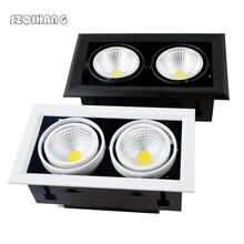 Double LED downlights Spot light Recessed square Dimmable Downlight COB 2*10W/2*12W/2*15W decoration Ceiling Lamp