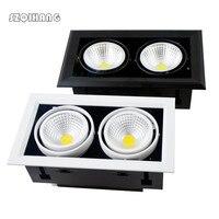 Duplo LED downlights LED Spot light Recesso praça LED Downlight Dimmable COB 2*10 w/2*12 w/2*15 w decoração CONDUZIU a Lâmpada Do Teto