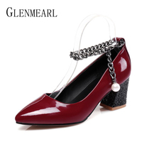 Patant Leather Women High Heels Shoes Pumps Black Brand Thick High Heels Single Ladies Heels Wedding