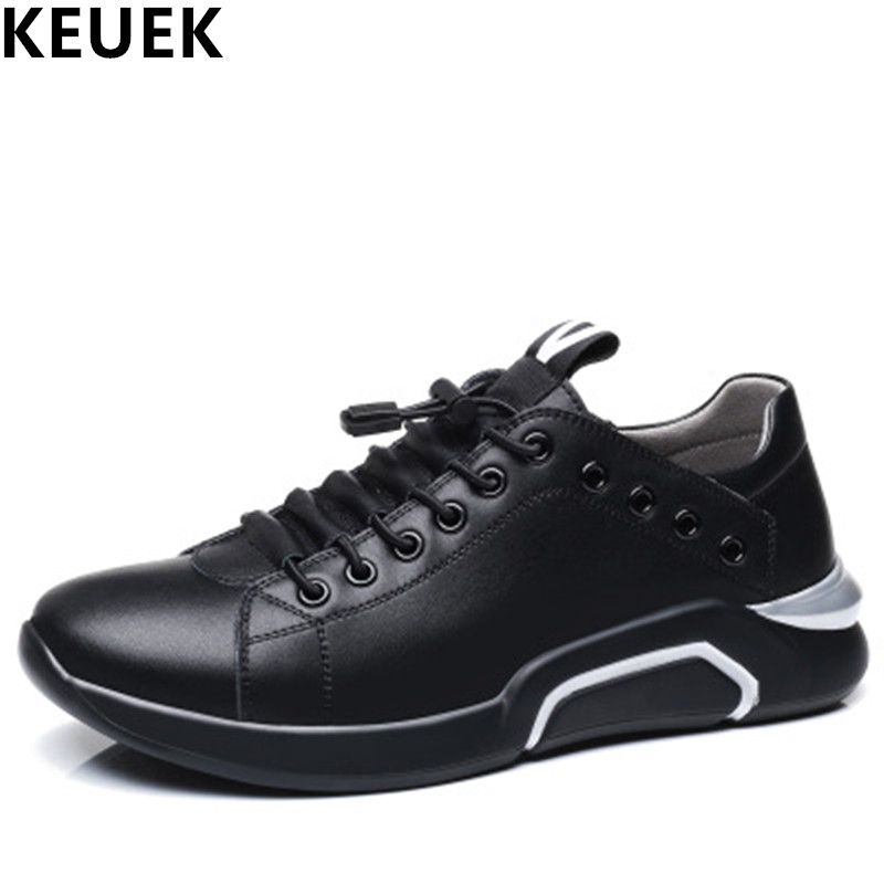 Black White Men shoes Genune Leather Casual shoes Spring Autumn Breathable Male Flats Lace-Up Loafers Sneakers 061 dxkzmcm men casual shoes lace up cow leather men flats shoes breathable dress oxford shoes for men chaussure homme