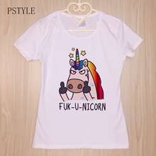 Kawaii T Shirts Women Funny Unicorn Rainbow Fuk-U-Nicorn Tshirt Harajuku Shirt Girls Cartoon Printing Tee Tops PSTYLE