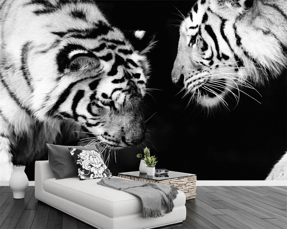 Beibehang Custom wallpaper black and white Tiger TV background walls ...