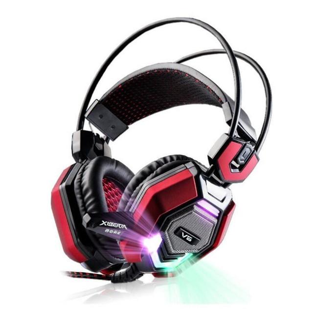 XIBERIA V6 Gaming Headset Estéreo Diadema Pc Auriculares Sobre la Oreja Juego Brillo Casque Audio Auriculares Auriculares Con Micrófono Para la Computadora