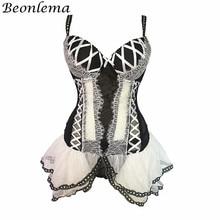 BEONLEMA Transparent Sexy Bustier Frauen Clubwear Wäsche Schwarz Unterbrust Korsett Top Spitze Bustier Kleid Lolita Bajan Korse