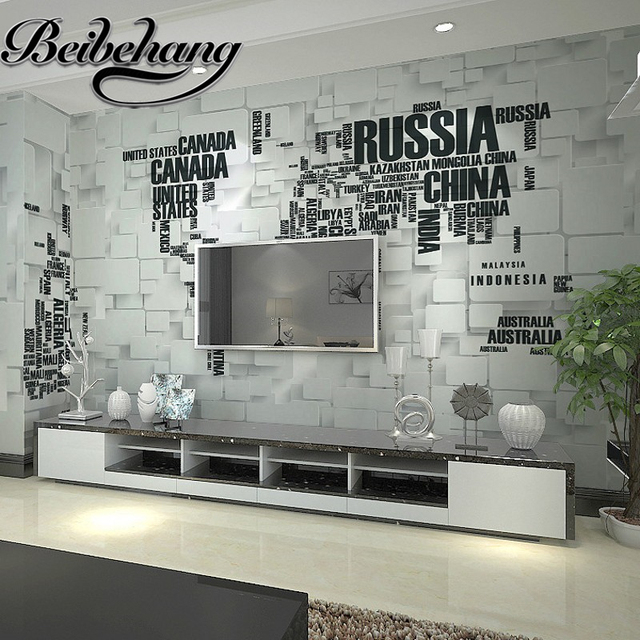 Beibehang beibehang custom 3d brick wall murals personalized letters beibehang beibehang custom 3d brick wall murals personalized letters world map wallpaper living room tv background gumiabroncs Choice Image