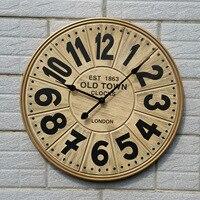 Large Wooden Wall Clock Modern Design 3D Stickers European Retro Style Bar Hanging Watch Big Wall Clocks Home Decor 23 inch