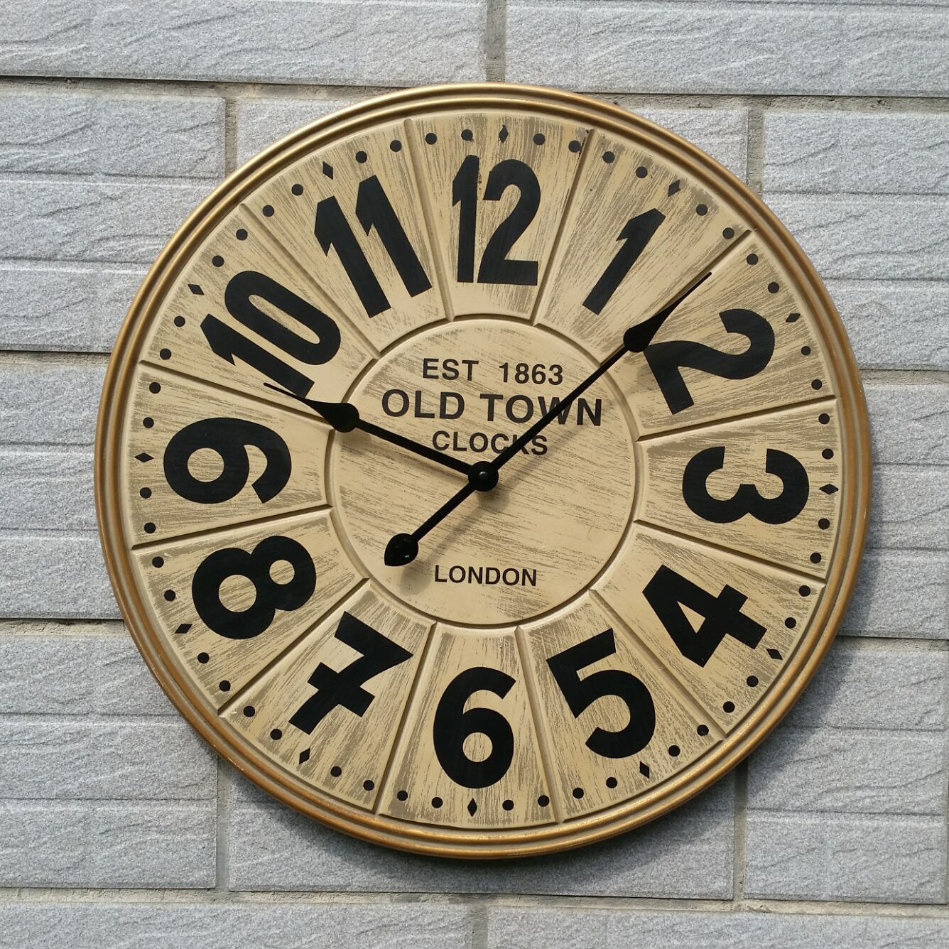 Large Wooden Wall Clock Modern Design 3d Stickers European Retro Style