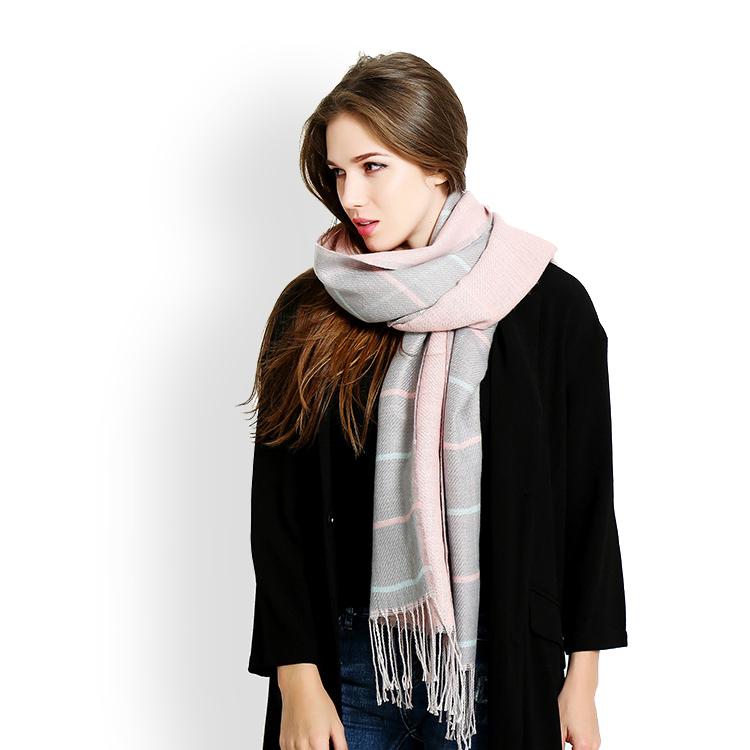 de las mujeres de doble cara bufandas de cachemira de la tela escocesa de tartn con