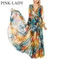 Summer Autumn Fashion V-neck Long Sleeve Bohemian Dresses Womens Ladies Empire Waist Ankle-Length Printed Long Chiffon Dress
