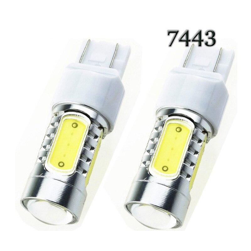 HK Post free P21 / 5W T20 7443 COB 7.5W s objektivem Eagle eye lampa Chip Car brzdová světla LED žárovka světle bílá žlutá červená modrá DC12V