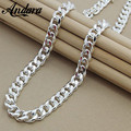 ANDARA Men's 22'' 55cm 10MM Hip Hop Chain Necklace 925 Sterling Silver Jewelry Statement Necklace For Party N184