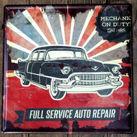 Mechanic On Duty 24 Hours Full Service Auto Repair Metal Plaque Wall Art Tin Plate Garage
