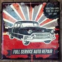 Mechanic On Duty 24 Hours Full Service Auto Repair Metal Plaque Wall Art Tin Plate Garage