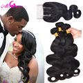 Brazilian Virgin Hair Body Wave With Closure Cheap 3 Bundles Human Hair With Closure 7A Brazillian Virgin Hair With Closure