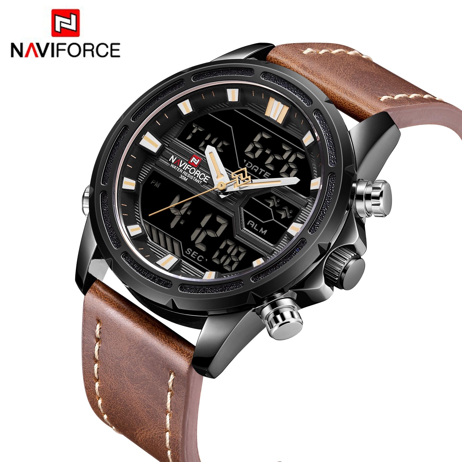 Men Military Sport Watches Leather LED Digital Quartz Wrist Watch Waterproof Clock